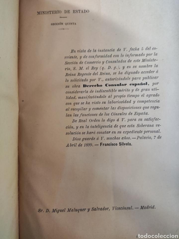 Libros antiguos: Derecho Consular Español. Miguel Maluquer. 1899 - Foto 3 - 195281191