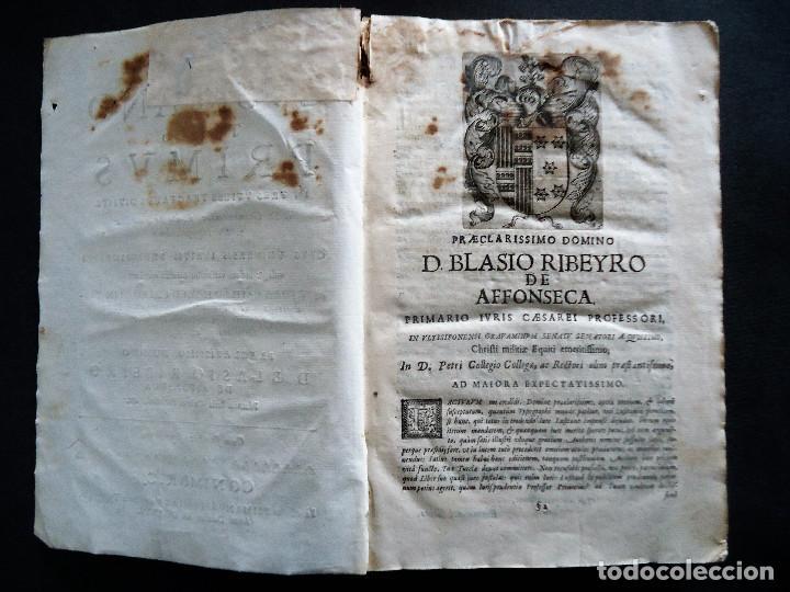 Libros antiguos: PORTUGAL.COIMBRA.DE IVRE LVSITANO TOMVS PRIMVS IN TRES..MATHEO HOMEM LEITAM OLIM.1675 - Foto 6 - 195295208