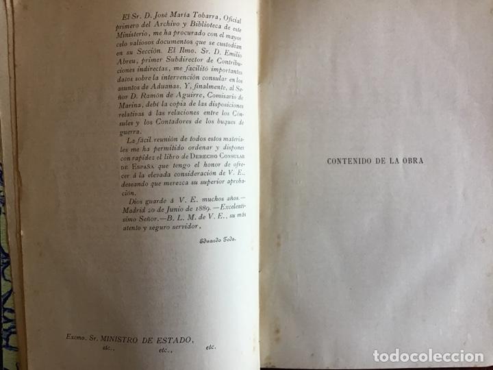 Libros antiguos: Derecho Consular de España. Eduardo Toda y Guell. 1889 - Foto 4 - 195300952