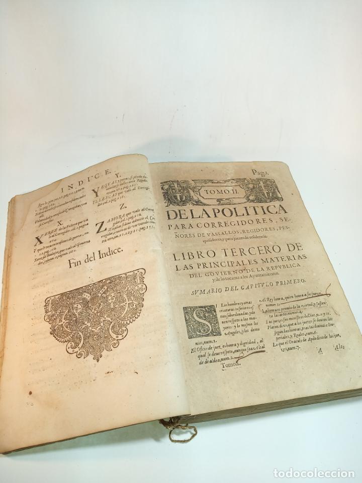 DE LA POLÍTICA PARA CORREGIDORES, SEÑORES VASSALLOS,REGIDORES, PESQUISIDORES Y PARA JUECES.. 1650. (Libros Antiguos, Raros y Curiosos - Ciencias, Manuales y Oficios - Derecho, Economía y Comercio)