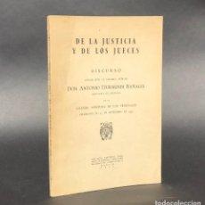 Libros antiguos: DE LA JUSTICIA Y DE LOS JUECES - BARACALDO - VIZCAYA - ANTONIO ITURMENDI BAÑALES - DERECHO. Lote 195369641