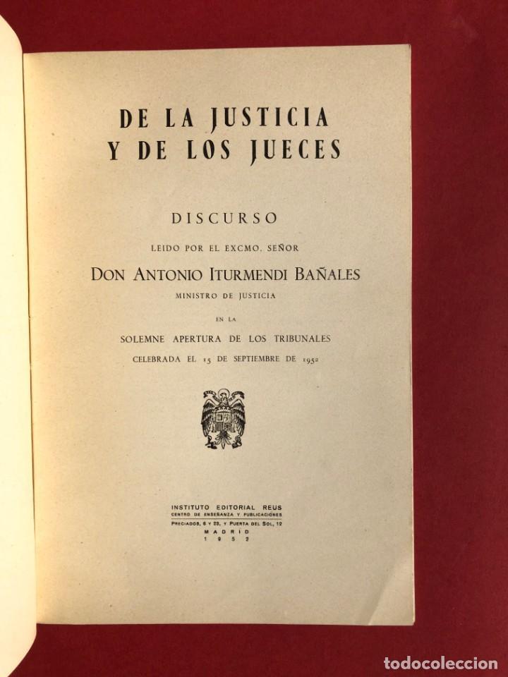 Libros antiguos: DE LA JUSTICIA Y DE LOS JUECES - Baracaldo - Vizcaya - Antonio Iturmendi Bañales - Derecho - Foto 3 - 195369641