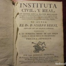 Libros antiguos: BERNI. INSTITUTA CIVIL REAL. 1775.. Lote 195414735