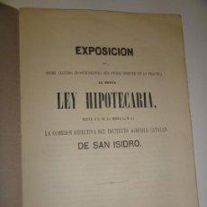 Libros antiguos: EXPOSICIÓN SOBRE INCONVENIENTES QUE PUEDE OFRECER EN LA PRÁCTICA LA NUEVA LEY HIPOTECARIA 1863. Lote 196823685