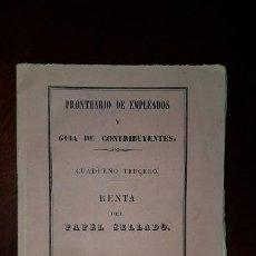 Libros antiguos: RENTA DEL PAPEL SELLADO - 1842. Lote 197195546