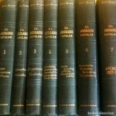 Libros antiguos: LS 31 - EL ABOGADO POPULAR - PEDRO HUGET - COMPLETA 6 + 1 VOLÚMEN - SUCESORES MANUEL SOLER - BUENOS. Lote 198318693