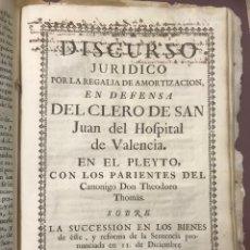 Libros antiguos: VALENCIA - 1768 — S. JUAN DEL HOSPITAL.. Lote 198861128
