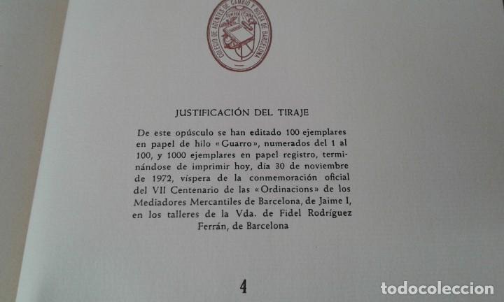 Libros antiguos: Ordinacions de los mediadores mercantiles de Barcelona tirada numerada de 100 ejemplares pergamino - Foto 11 - 114962423