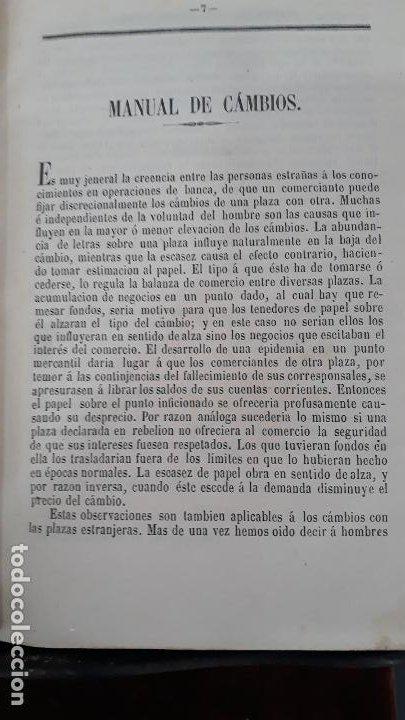 Libros antiguos: manual de cambios de españa,valencia 1858 imprenta jose maria ayoldi,cambios de monedas paris,roma,e - Foto 2 - 202425662