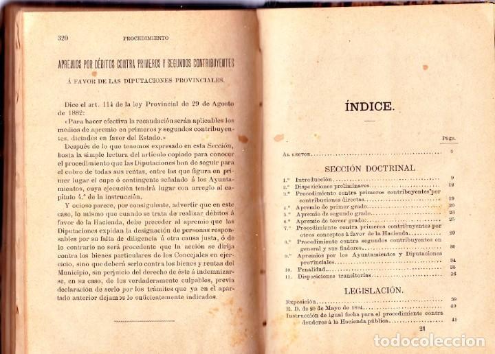 Libros antiguos: PROCEDIMIENTOS LEGALES DE APREMIOS 9ª EDICIÓN. 1887, SEGÚN LA INSTRUCCIÓN DE 20 DE MAYOR DE 1884 - Foto 3 - 202893075