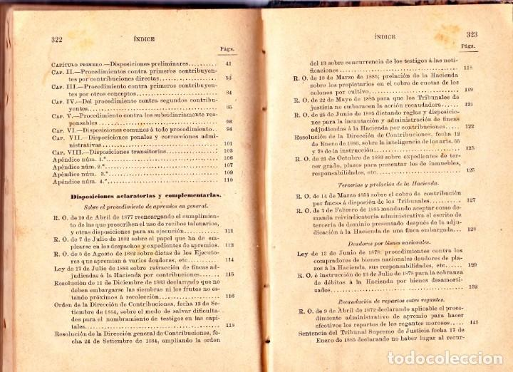 Libros antiguos: PROCEDIMIENTOS LEGALES DE APREMIOS 9ª EDICIÓN. 1887, SEGÚN LA INSTRUCCIÓN DE 20 DE MAYOR DE 1884 - Foto 5 - 202893075