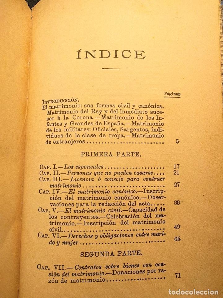 Libros antiguos: El matrimonio. La familia según el derecho vigente. Gabriel R. España. Madrid. 1895 h. 2 vols. - Foto 2 - 203296067