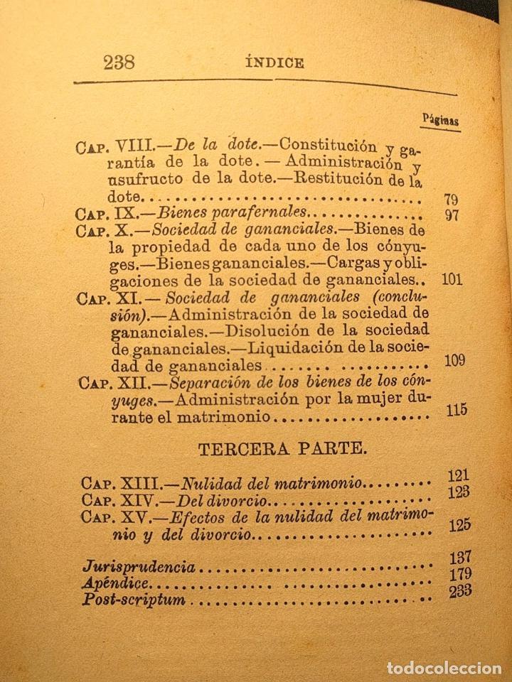 Libros antiguos: El matrimonio. La familia según el derecho vigente. Gabriel R. España. Madrid. 1895 h. 2 vols. - Foto 3 - 203296067