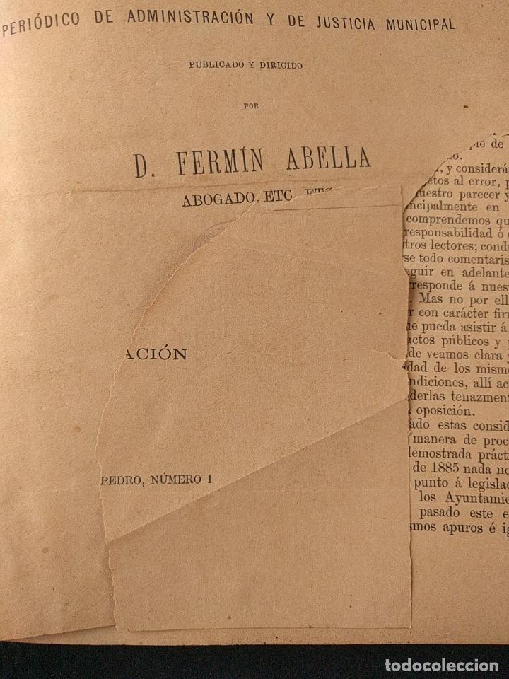 Libros antiguos: El consultor de los ayuntamientos y de los juzgados municipales. Año 34º 1886. Fermín Abella. - Foto 3 - 203296737