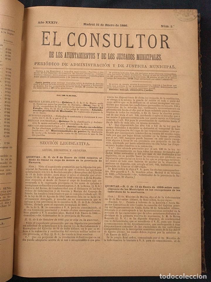 Libros antiguos: El consultor de los ayuntamientos y de los juzgados municipales. Año 34º 1886. Fermín Abella. - Foto 4 - 203296737