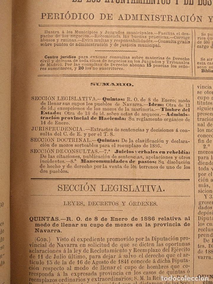 Libros antiguos: El consultor de los ayuntamientos y de los juzgados municipales. Año 34º 1886. Fermín Abella. - Foto 5 - 203296737