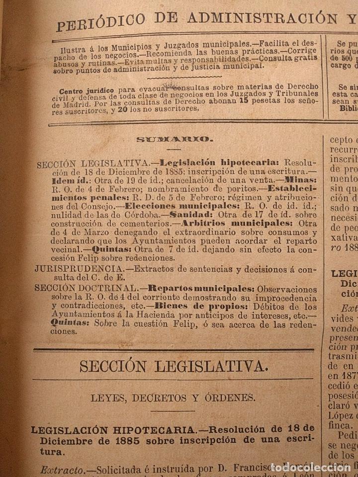 Libros antiguos: El consultor de los ayuntamientos y de los juzgados municipales. Año 34º 1886. Fermín Abella. - Foto 6 - 203296737