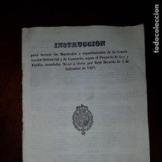 Libros antiguos: INSTRUCCIÓN PARA FORMAR LAS MATRÍCULAS DE LA CONTRIBUCIÓN INDUSTRIAL Y DE COMERCIO - 1847. Lote 203580255