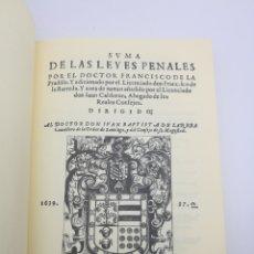 Livres anciens: SUMA LEYES PENALES POR FRANCISCO DE LA PRADILLA FACSIMIL NUMERADO. Lote 204085150