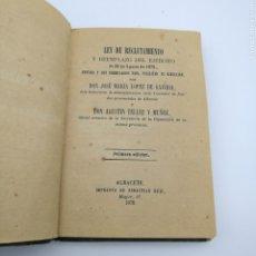 Libros antiguos: LEY DE RECLUTAMIENTO Y REEMPLAZO DEL EJERCITO 1878. Lote 205087531
