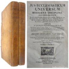 Libros antiguos: 1778 - JUS ECCLESIASTICUM - ZEGER BERNHARD VAN ESPEN - DERECHO CANÓNICO - 2 ENORMES TOMOS DE 37 CM.. Lote 205330121
