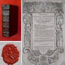 Libros antiguos: AÑO 1583 - 24 CM - INSTITUCIONES DEL EMPERADOR JUSTINIANO, MÁS EL DIGESTO DE JUSTINIANO - COMPLETOS. Lote 205464962