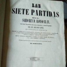 Libros antiguos: LAS SIETE PARTIDAS . ALFONSO X EL SABIO - PARTIDA V I VI - TOMO III - 1843 - BARCELONA -. Lote 206174098