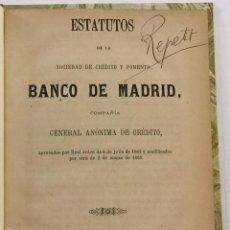 Libros antiguos: ESTATUTOS DE LA SOCIEDAD DE CRÉDITO Y FOMENTO, BANCO DE MADRID. COMPAÑÍA GENERAL DE CRÉDITO. 1866. Lote 206205712