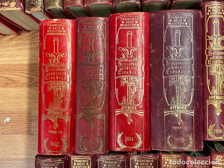 Libros antiguos: Enciclopedia juridisica española 51 tomos apendices desde 1911 hasta 1972 en perfecto estado - Foto 7 - 206908747