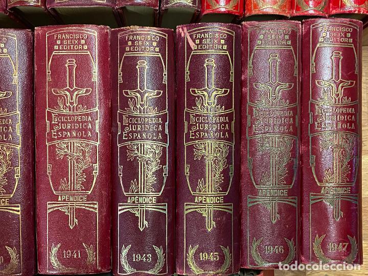 Libros antiguos: Enciclopedia juridisica española 51 tomos apendices desde 1911 hasta 1972 en perfecto estado - Foto 11 - 206908747
