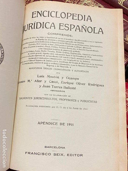 Libros antiguos: Enciclopedia juridisica española 51 tomos apendices desde 1911 hasta 1972 en perfecto estado - Foto 20 - 206908747
