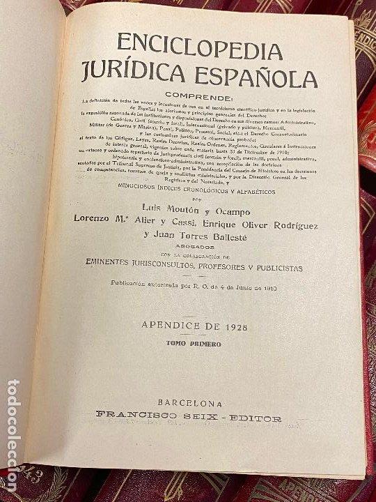 Libros antiguos: Enciclopedia juridisica española 51 tomos apendices desde 1911 hasta 1972 en perfecto estado - Foto 23 - 206908747