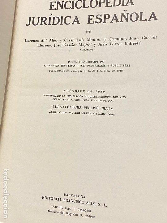 Libros antiguos: Enciclopedia juridisica española 51 tomos apendices desde 1911 hasta 1972 en perfecto estado - Foto 27 - 206908747