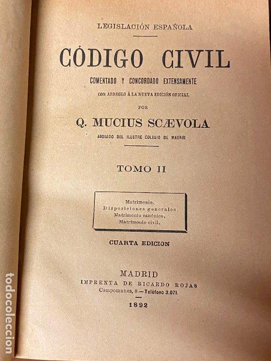 Libros antiguos: 15 tomos del codigo civil desde el tomo II de 1892 hasta el tomo XXV de 1933 Q. MUCIUS SCAEVOLA - Foto 7 - 206926946