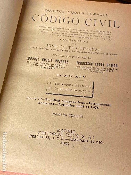 Libros antiguos: 15 tomos del codigo civil desde el tomo II de 1892 hasta el tomo XXV de 1933 Q. MUCIUS SCAEVOLA - Foto 8 - 206926946
