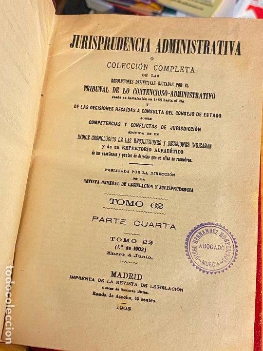 Libros antiguos: 8 tomos jurisprudencia administrativa o coleccion completa de resoluciones de 1904 a 1920 - Foto 6 - 206928300