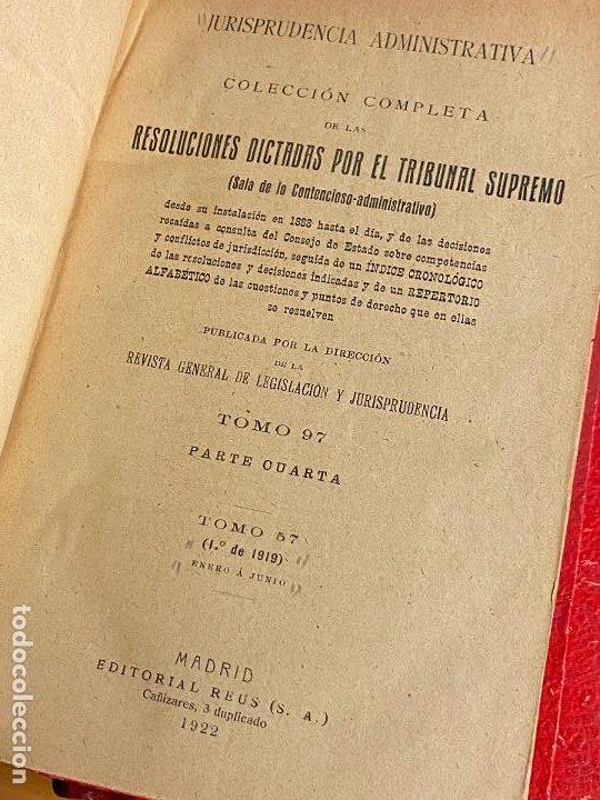 Libros antiguos: 8 tomos jurisprudencia administrativa o coleccion completa de resoluciones de 1904 a 1920 - Foto 8 - 206928300