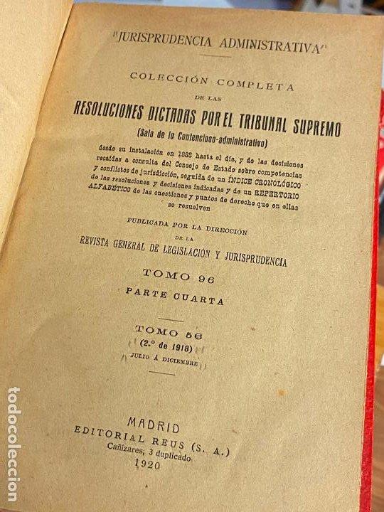 Libros antiguos: 8 tomos jurisprudencia administrativa o coleccion completa de resoluciones de 1904 a 1920 - Foto 9 - 206928300
