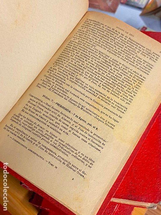 Libros antiguos: 8 tomos jurisprudencia administrativa o coleccion completa de resoluciones de 1904 a 1920 - Foto 10 - 206928300