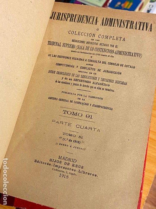 Libros antiguos: 8 tomos jurisprudencia administrativa o coleccion completa de resoluciones de 1904 a 1920 - Foto 13 - 206928300