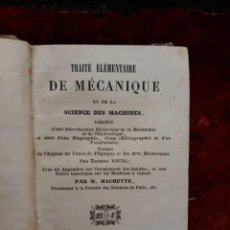 Libros antiguos: TRAITE ELEMENTEIRE DE MECANIQUE ESCIENCES MACHINES 1842. Lote 209185363