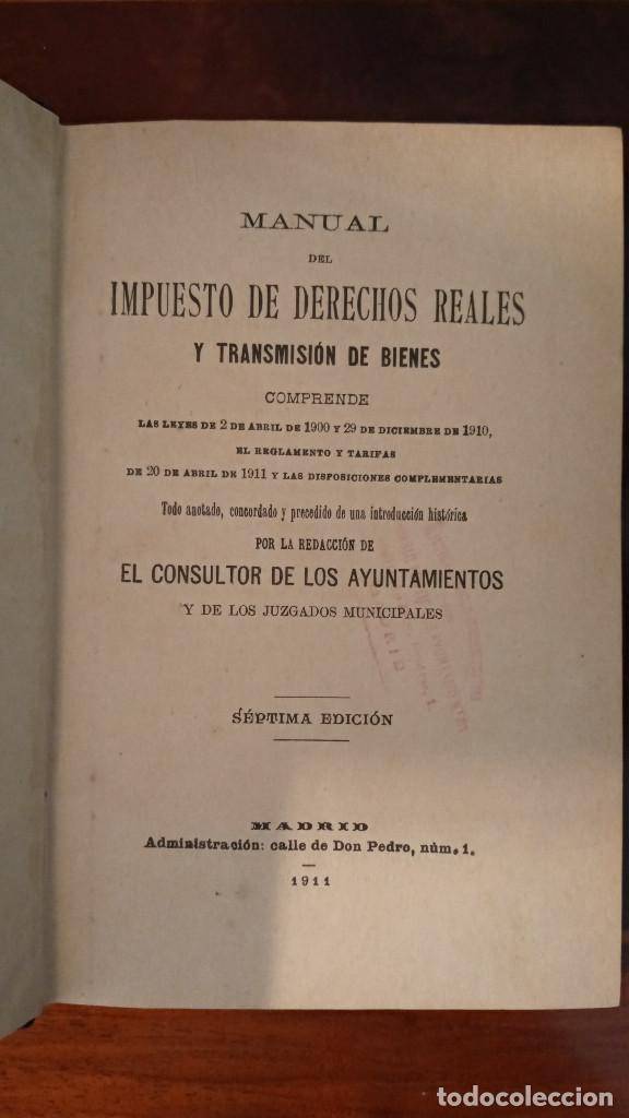 Libros antiguos: MANUAL DE DERECHOS REALES Y TRANSMISIÓN DE BIENES- ABELLA - SEPT EDICION MADRID 1911 - Foto 4 - 189374927