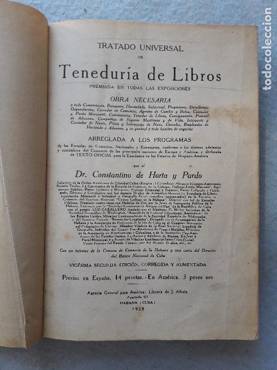TRATADO UNIVERSAL DE TENEDURÍA DE LIBROS. CONSTANTINO DE HORTA Y PRADO. AÑO 1928. (Libros Antiguos, Raros y Curiosos - Ciencias, Manuales y Oficios - Derecho, Economía y Comercio)