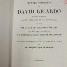 Libros antiguos: OEUVREX COMPLETES DAVID DE RICARDO PARIS 1847 ACEPTAMOS OFERTAS 1 EDICION. Lote 214839841