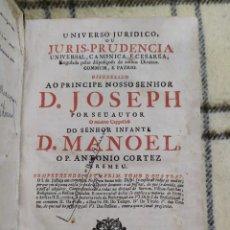 Libros antiguos: 1749. UNIVERSO JURÍDICO O JURISPRUDENCIA UNIVERSAL, CANÓNICA Y CESAREA. ANTONIO CORTÉZ BREMEU. FOLIO. Lote 218251413