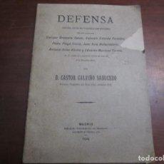 Libros antiguos: DEFENSA DE PAISANOS NAVARCLES SUPUESTO DELITO INSULTOS GUARDIA CIVIL CASTOR CALVIÑO 1904 MADRID. Lote 218306655
