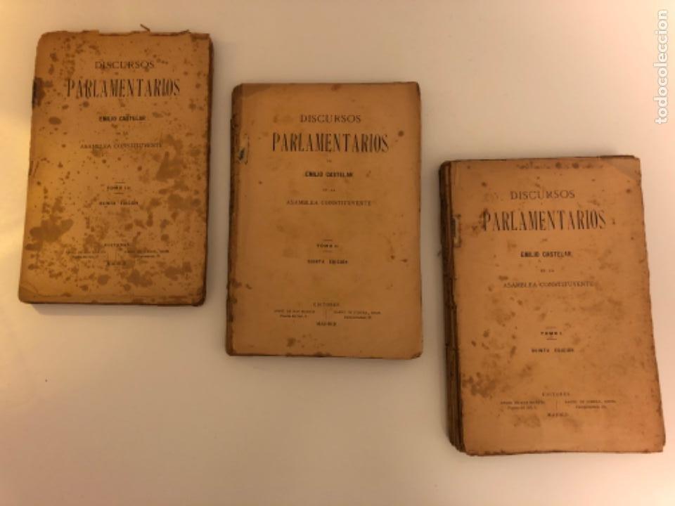 DISCURSOS PARLAMENTARIOS EN LA ASAMBLEA CONSTITUYENTE. EMILIO CASTELAR. TOMOS I, II Y III. RÚSTICA. (Libros Antiguos, Raros y Curiosos - Ciencias, Manuales y Oficios - Derecho, Economía y Comercio)