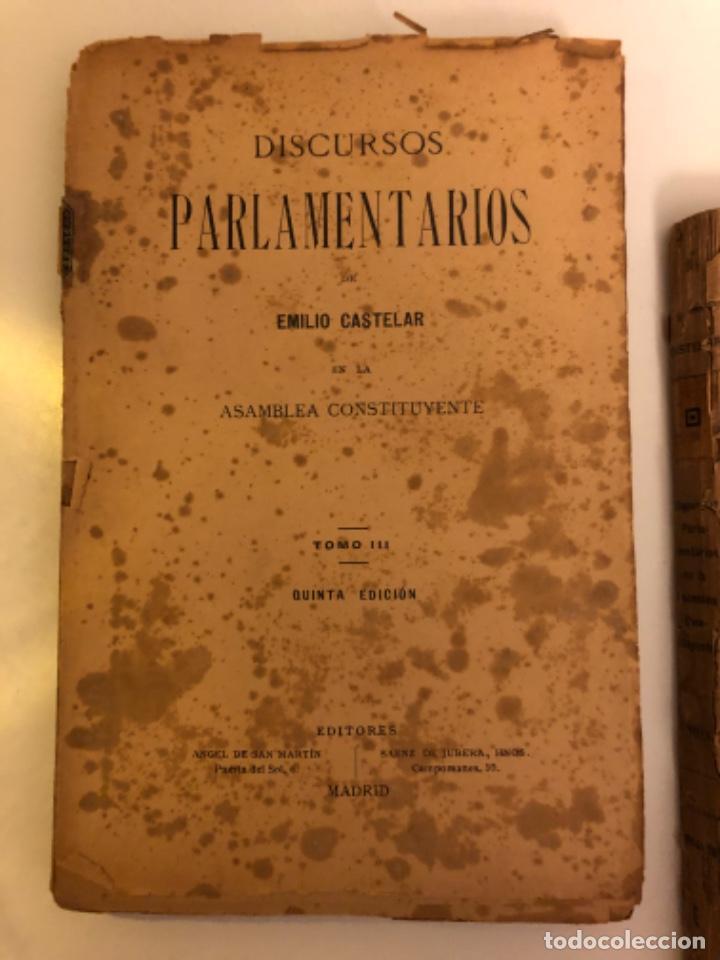 Libros antiguos: Discursos parlamentarios en la Asamblea Constituyente. Emilio Castelar. Tomos I, II y III. Rústica. - Foto 7 - 218646777