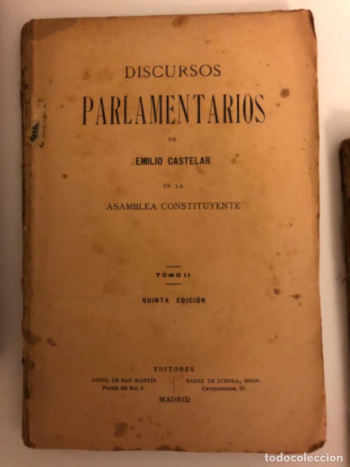 Libros antiguos: Discursos parlamentarios en la Asamblea Constituyente. Emilio Castelar. Tomos I, II y III. Rústica. - Foto 4 - 218646777