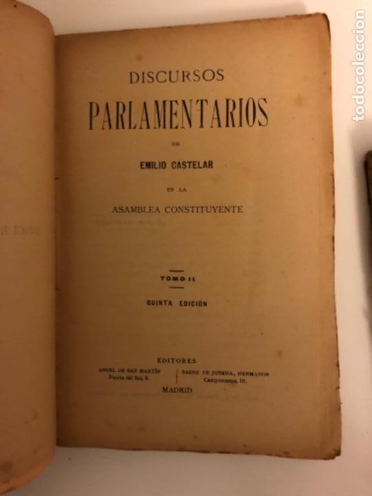 Libros antiguos: Discursos parlamentarios en la Asamblea Constituyente. Emilio Castelar. Tomos I, II y III. Rústica. - Foto 2 - 218646777